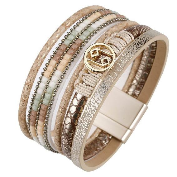 Pulseira Bracelete Ima De Couro Bege E Dourada