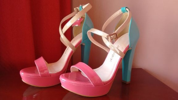 Sandália Salto Alto Via Marte Pink/ciano Número 38