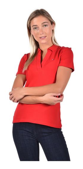 Polo Slim Fit Tommy Hilfiger Rojo Ww0ww20026-xbe Mujer