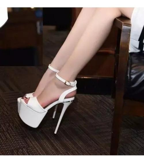 Sandalia Feminino Branca Solado Vermelho - Frete Grátis