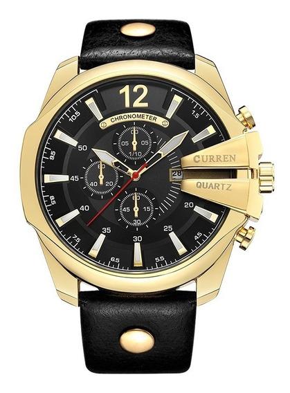 Relógio Masculino Curren Preto Classic Analógico Militar