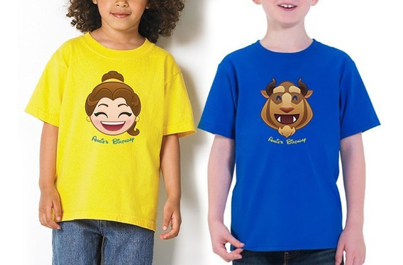 2 Playera O Camiseta Bella Y Bestia Kids Para Niños Adultos