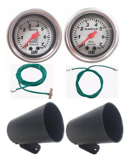 Kit 2 Manômetro Mangueira Pressão Combustível Óleo Com Copos