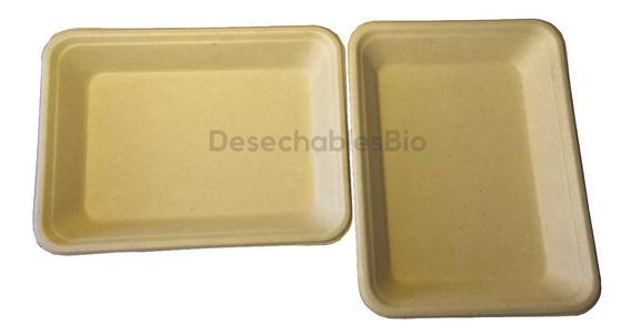 50 Charolas / Platos Rectangular Biodegradables Bagazo De Trigo 350 Ml. (19x14cm)