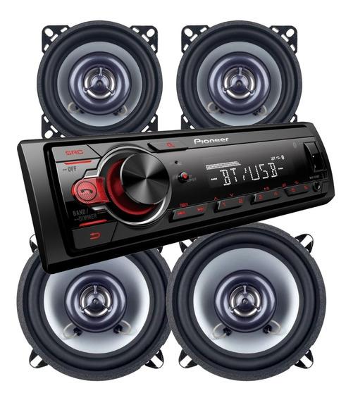 Stereo Pioneer Bluetooth Mvh 215 Bt Parlantes 4 Y 5 Pulgadas