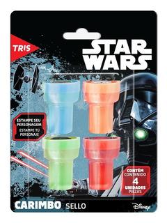 Carimbo Infantil Tema Star Wars Autotintando 4 Unidades Tris