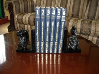 Portalibros De Obsidiana Con Figuras De La Misma Piedra