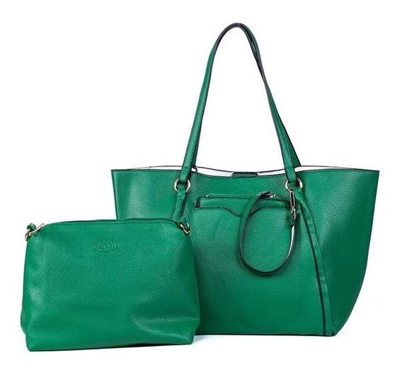 Bolsa Feminina Sacola Verde +carteira +chaveiro
