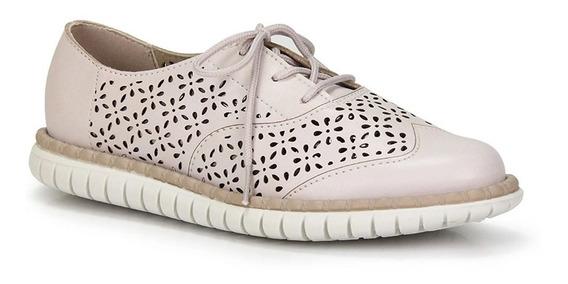 Sapato Oxford Tratorado Moleca Fem 5654.101 - Creme