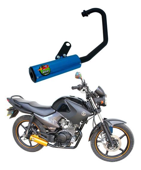 Escapamento Ybr 125 Factor 08/... Azul Mod. Rocket