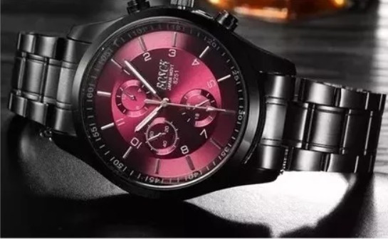 Relógio De Luxo Masculino Bosck Em Aço Inoxidável Vinho B332