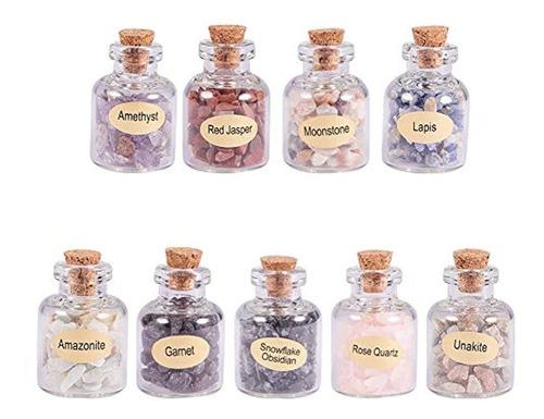 Imagen 1 de 3 de Piedras Preciosas Trituradas Con Botella De Vidrio