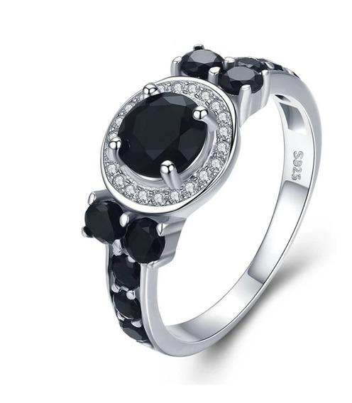 Elegante Anillo Plata 925 Zirconias Y Cristales Negros Mujer