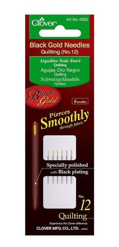 Clover Agujas, Quilting No 12, Color Negro Y Dorado, Negro/d