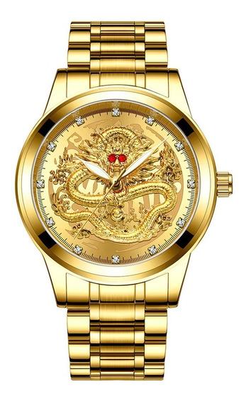 Relógio Masculino Dragão Alto Relevo Fngeen