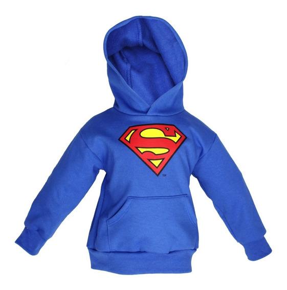 Nuevo Sudadera Superman Niño Azul Logo Original Dc Comics