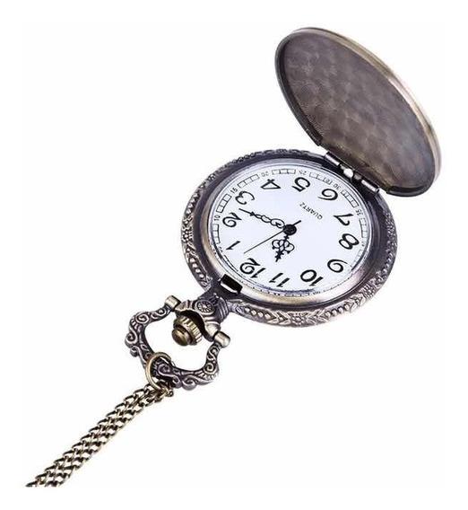 Relógio De Bolso Antigo Trem Bala + Corrente Retro Top