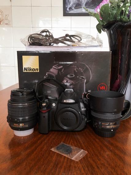 Câmera Nikon D5000 Completa Na Caixa + Lente 50mm 1.8 Af-s