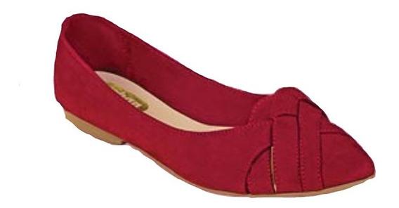 Calzado Zapato Piso Dama Mujer Color Rojo Cómodo Suave