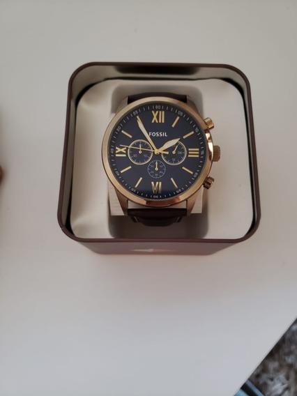 Relógio Fóssil - Pulseira Couro Azul E Dourado