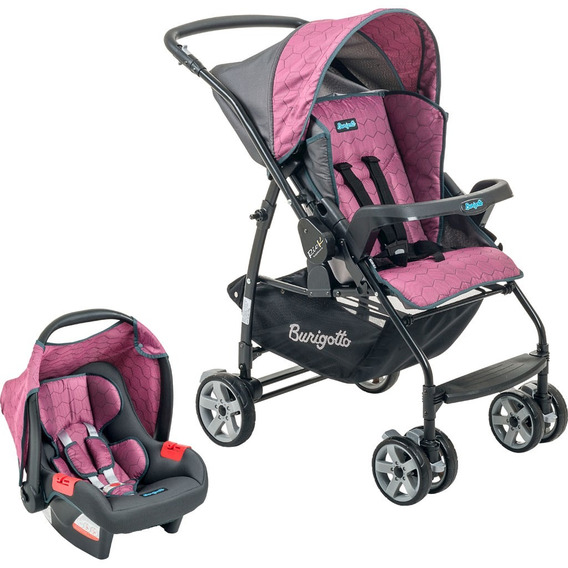 Carrinho De Bebê Rio K + Bebê Conforto Burigotto - Geo Rosa