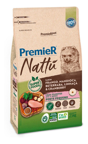 Ração Premier Pet Seleção Natural Filhotes Raças Peq. 2,5kg