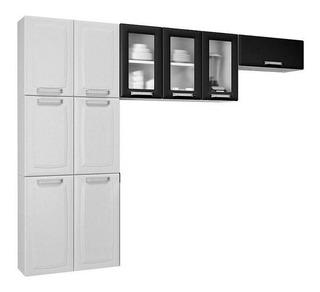 Cozinha Compacta 3 Peças Com Vidro Luce Branco/preto - Itati