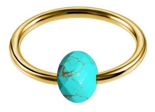 Piercing Captive Fl A Ouro Pedra Mística Natural Turquesa