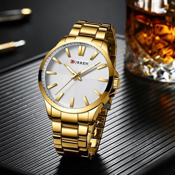 Relojes Curren Dorado Gold Hombre Acero Inoxidable Lujo