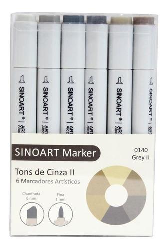 Caneta Sinoart Marcador 2 Pontas Tons De Cinza 2 C/6 Cores