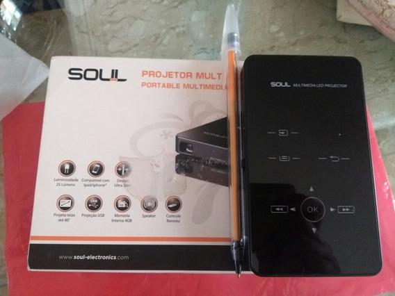 Mini Projetor Dlp Soul S80 Novinho, Na Caixa E Completo.