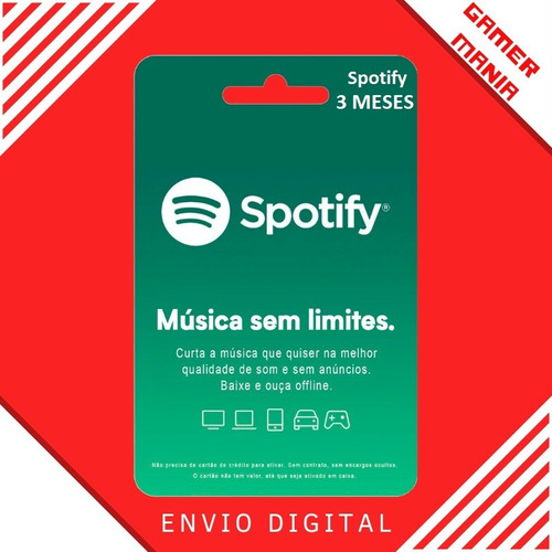 Spotify Assinatura 3 Mêses Br Gift Card