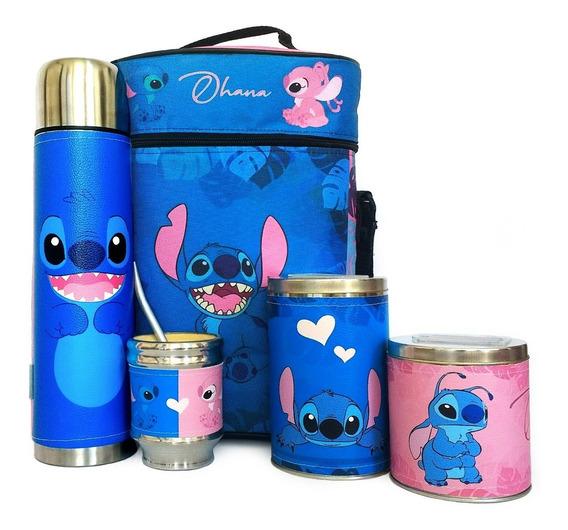 Equipo De Mate Completo Stitch Azul Cuero Set Kit Matero