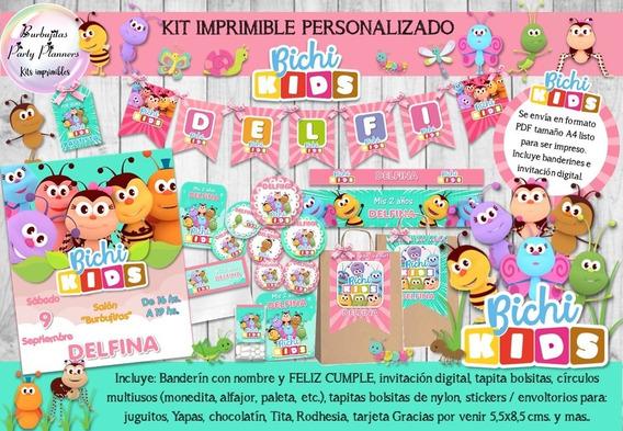 Kit Imprimible Candy Bar Bichi Kids - Mod. 2 Personalizado