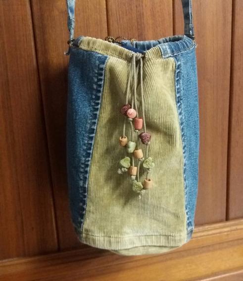 Bolsa Em Jeans E Veludo Customizado