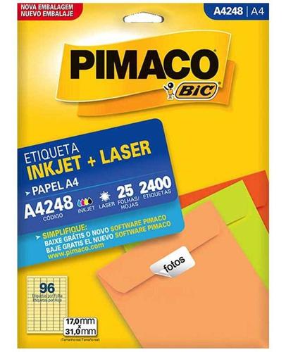 Etiqueta A4248 17x31mm 6col  2400un / 25fl / Pimaco