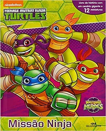 Livro Com 12 Miniaturas - Tartarugas Ninjas Missao Ninja