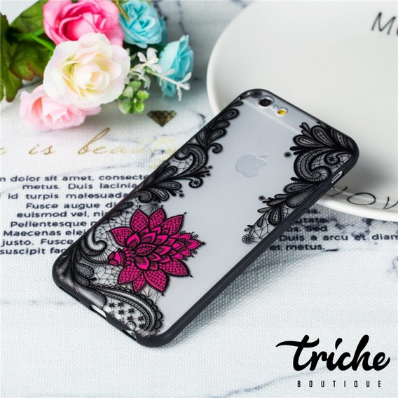Funda Dama Flor Rosa iPhone 6 6s 7 8 7+ 8+ X Xr Xs Xs Max