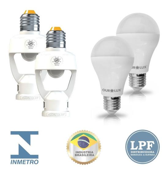 2 Sensor Presença E Fotocélula + 2 Lampada Led Ourolux 9w