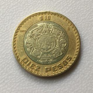 Moneda 10 Pesos Grafileada Invertida