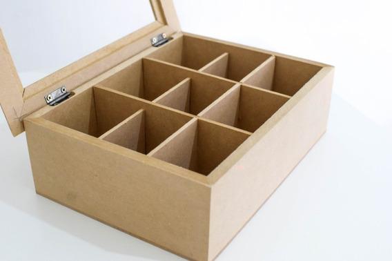 Cajas De Te Vidrio X 9 Div Fibrofacil Artesania Decorar