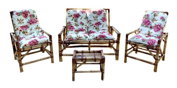 Jogo De Sofá De Bambu Poltronas Cadeiras Promoção Boleto
