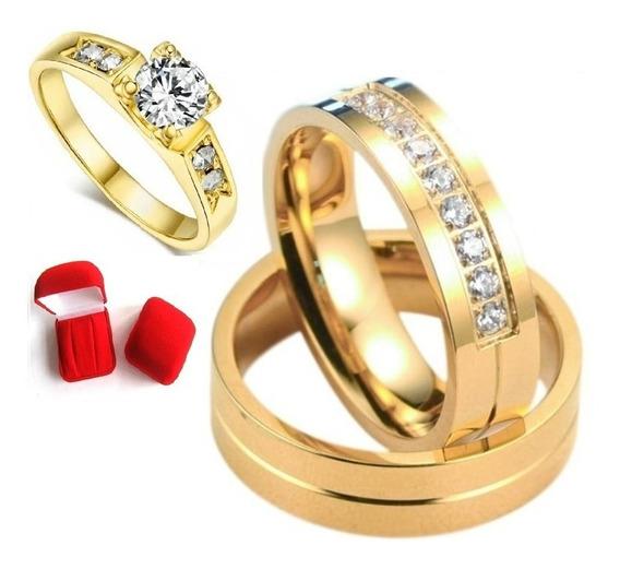 Par De Alianças 3 Banhos De Ouro Casamento +anel Solitario