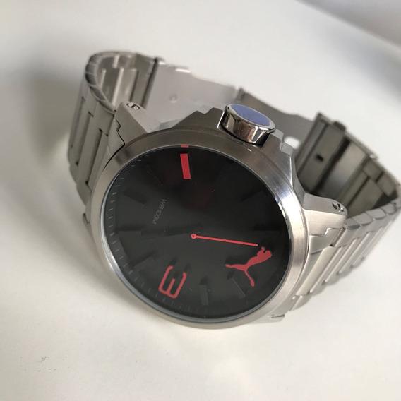 Relógio Puma Prata Detalhes Vermelho !