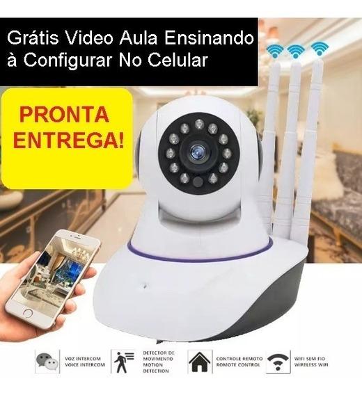 Camera Ip Jortan Imagem Hd Wifi Onvif -3 Antenas Baba Alarme