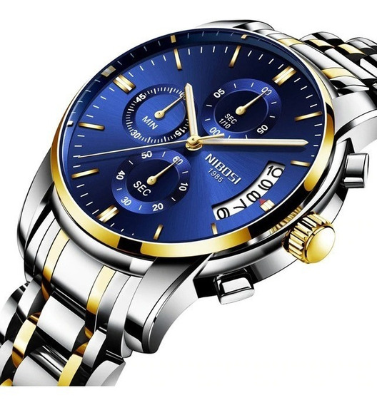 Relógio Masculino Nibosi 2353 - 30m Dourado/prata - Azul