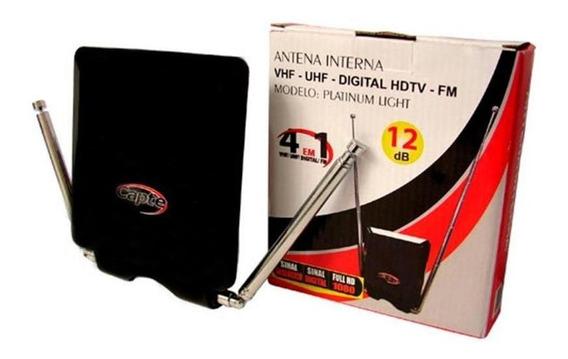Antena Interna Platinum Light 12db 4 Em 1 Vhf Uhf Fm Digital