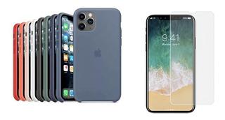 Case Silicona Original iPhone 11 Pro 11 Pro Max + Vidrio