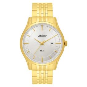 Relógio Orient Mas Aço Dourado Visor Branco Mgss1117 S1kx