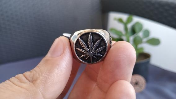 Anel Folha Da Maconha Cannabis Em Aço Inoxidável